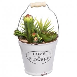 گلدان به همراه گل مصنوعی پرانی طرح سطل مدل 17501