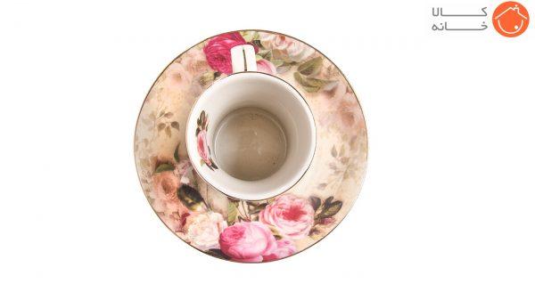سرویس چای خوری کمر باریک 12 پارچه طرح رز صورتی