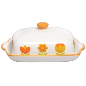 ظرف کره چینی طرح گل نارنجی کد 17942