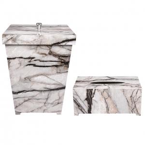 ست سطل و جا دستمال کاغذی طرح سنگ گلدن هاوس کد 5001