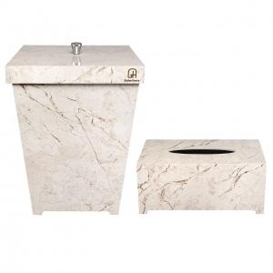 ست سطل و جا دستمال کاغذی طرح سنگ گلدن هاوس کد 5003