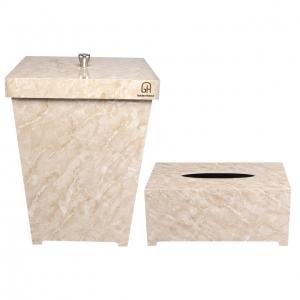 ست سطل و جا دستمال کاغذی پلاستیکی گلدن هاوس کد 5004