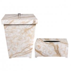 ست سطل و جا دستمال کاغذی پلاستیکی گلدن هاوس کد 5005