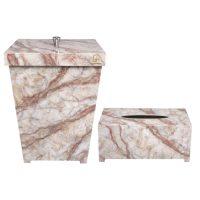 ست سطل و جا دستمال کاغذی, ست سطل و جادستمال, ست سطل و دستمال پلاستیکی, سطل و جا دستمال کاغذی طرح سنگ